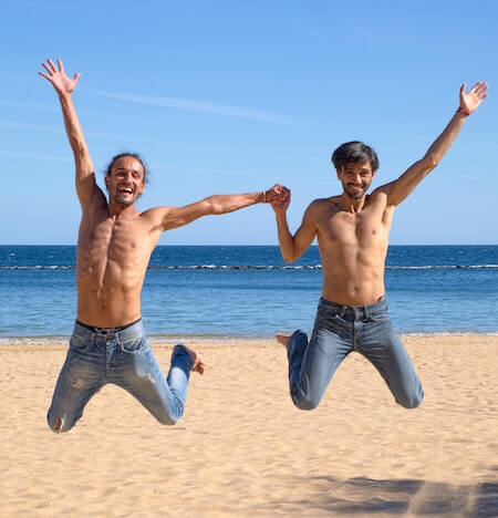gay guys jumping for joy