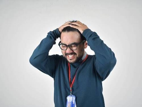 man very stressed